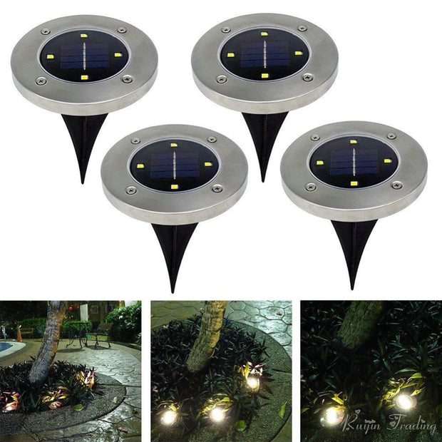 Solar Powered LED Disk Light (4 Pack)