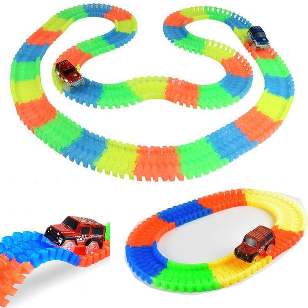 The Elegance Store car racing 60pcs with 1 car Glowing Car Racing Set for Kids- Awesomely FUN!