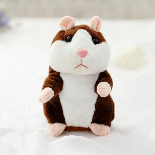 The Elegance Store Hamster Deep Brown Little Talking Hamster Plush Toy