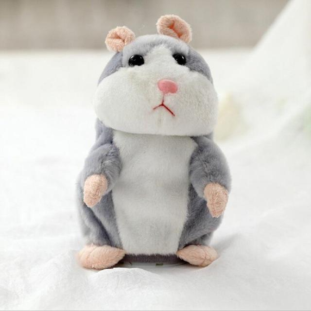 The Elegance Store Hamster Gray Little Talking Hamster Plush Toy