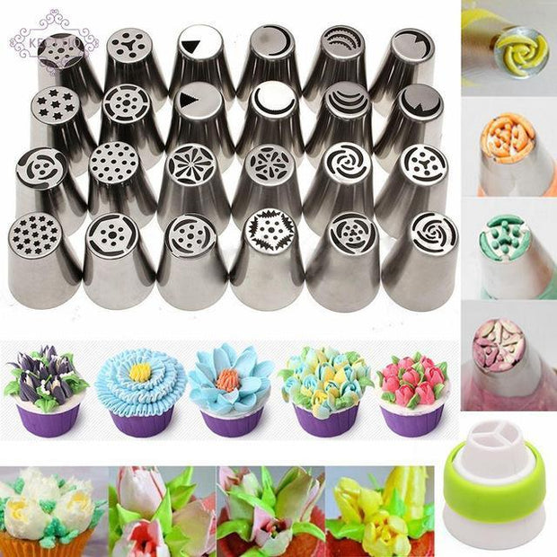 The Elegance Store Nozzles 1 Piece 50% Off HappyBakes Flower Nozzles 24 Pieces Professional.
