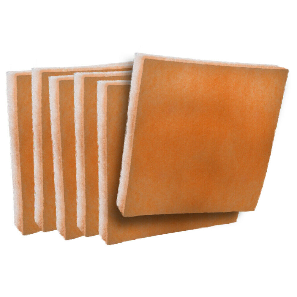 orange / white polyester filter pads media 6 pack