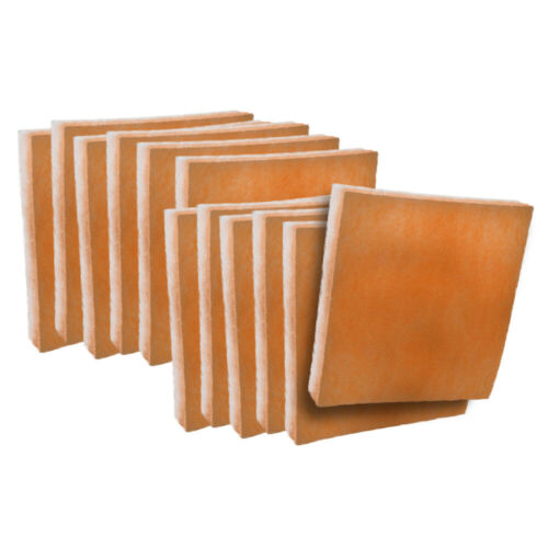 orange / white polyester filter pads media 12 pack