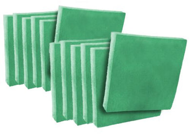(12 Pack) Green/White Antimicrobial Polyester Air Filter Pads 3/4
