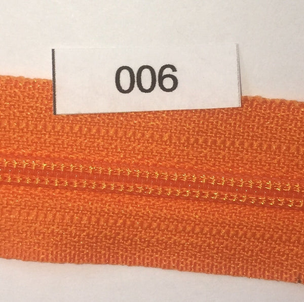 YKK zip #3 RegPull 14in 0006 Orange IN STOCK