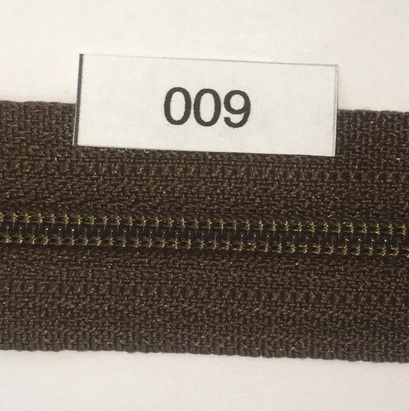 YKK zip #3 RegPull 14in 0009 Chocolate Brown IN STOCK
