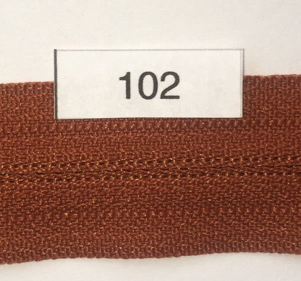 YKK zip #3 RegPull 22in 0102 Rust Orange IN STOCK