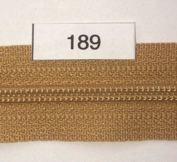 YKK zip #3 RegPull 22in 0189 Caramel Brown IN STOCK