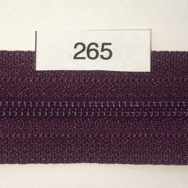 YKK zip #3 RegPull 14in 0265 Eggplant Purple IN STOCK