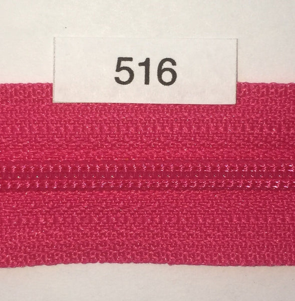 YKK zip #3 RegPull 14in 0516 Hot Pink IN STOCK