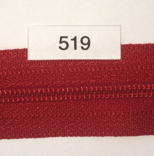 YKK zip #3 RegPull 14in 0519 Red IN STOCK