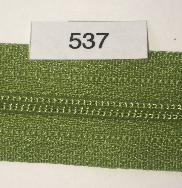 YKK zip #3 RegPull 14in 0537 Avocado Green IN STOCK