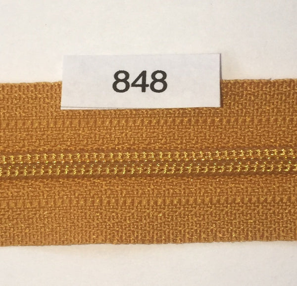 YKK zip #3 RegPull 14in 0848 Antique Gold IN STOCK