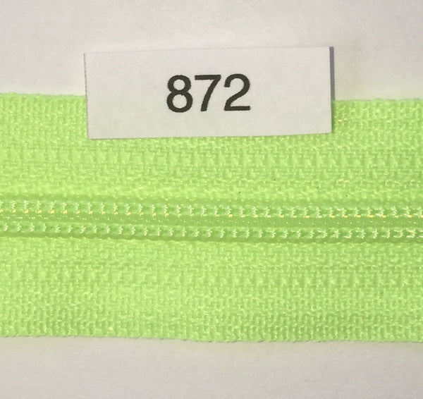 YKK zip #3 RegPull 22in 0872 Fluorescent Green IN STOCK