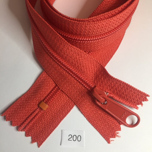 YKK zip #4.5 handbag pull 30in 0200 Red Orange IN STOCK
