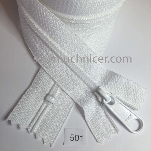 YKK zip #4.5 handbag pull 30in 0501 White IN STOCK