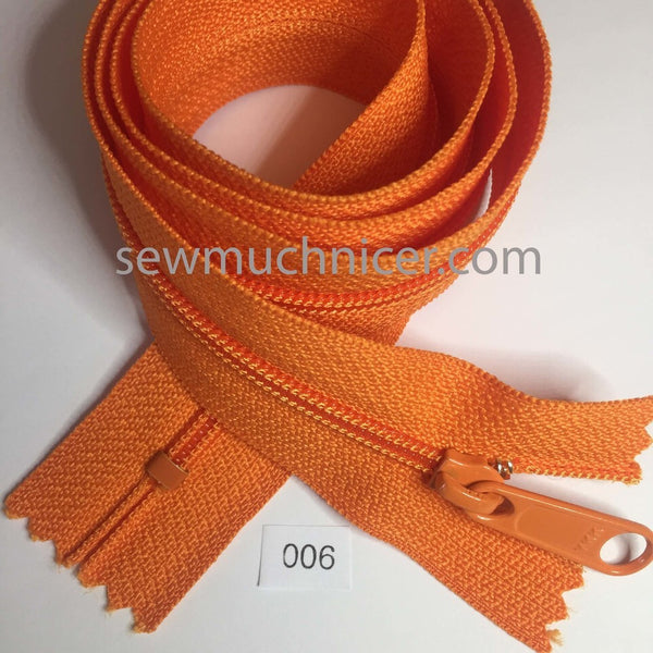 YKK zip #4.5 handbag pull 30in 0006 Orange IN STOCK