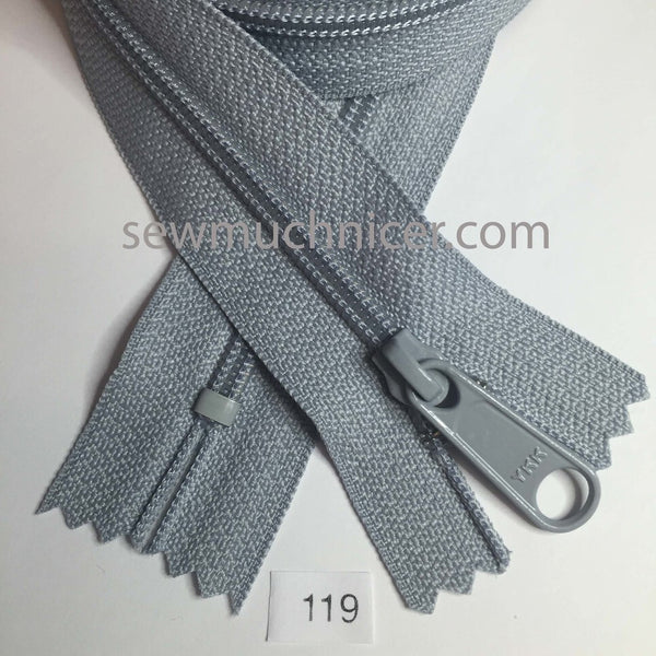 YKK zip #4.5 handbag pull 30in 0119 Gray IN STOCK