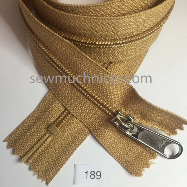 YKK zip #4.5 handbag pull 30in 0189 Caramel Brown IN STOCK