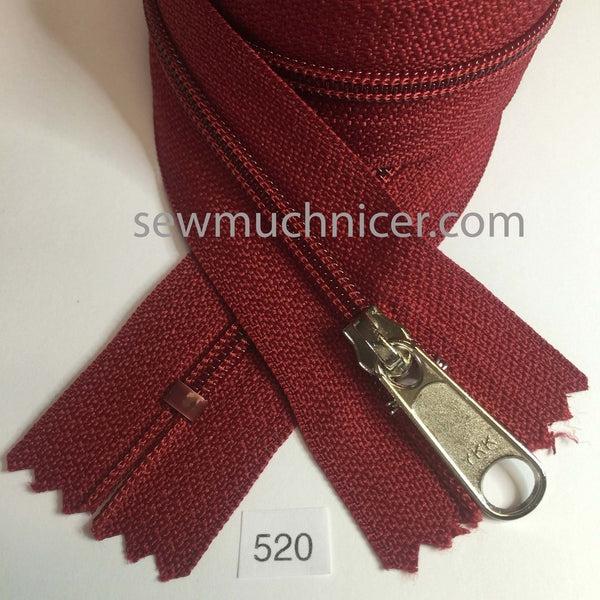 YKK zip #4.5 handbag pull 30in 0520 Cranberry Red IN STOCK