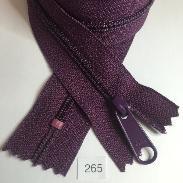 YKK zip #4.5 handbag pull 30in 0265 Eggplant Purple IN STOCK