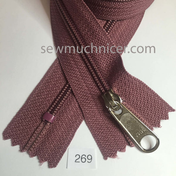 YKK zip #4.5 handbag pull 30in 0269 Mauve IN STOCK