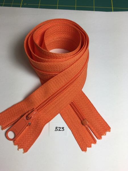 YKK zip #4.5 handbag pull 30in 0523 Mandarin IN STOCK