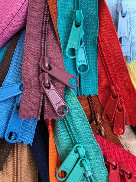 "BUNDLE of 65 colors. Original 40"" #4.5 YKK double handbag pull in-stock zippers."