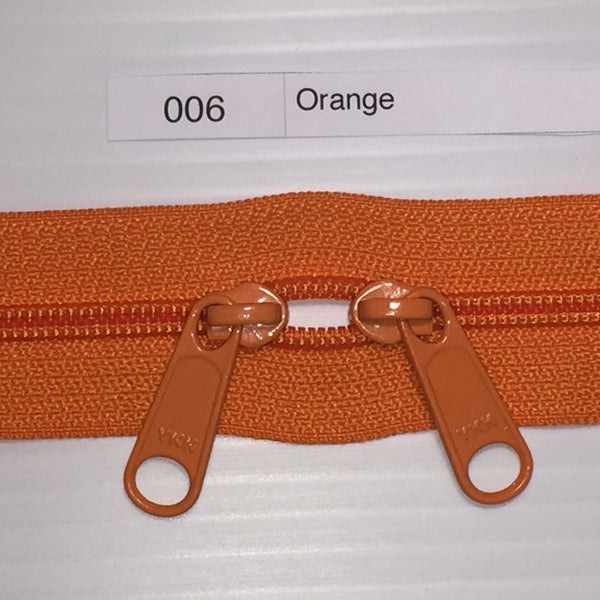 YKK zip #4.5 double handbag pull 40in 0006 Orange IN STOCK