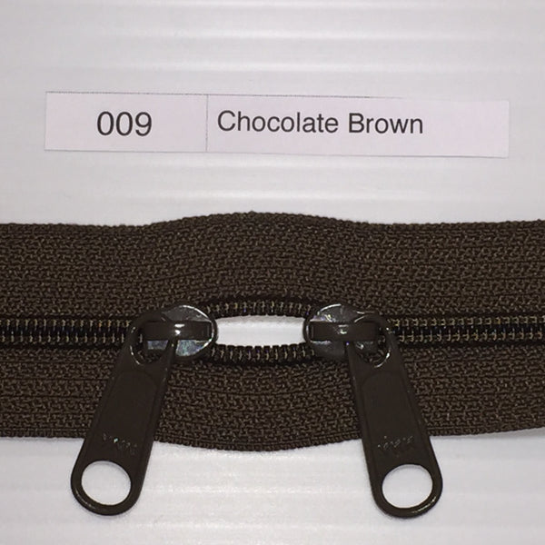 YKK zip #4.5 double handbag pull 40in 0009 Chocolate Brown IN STOCK