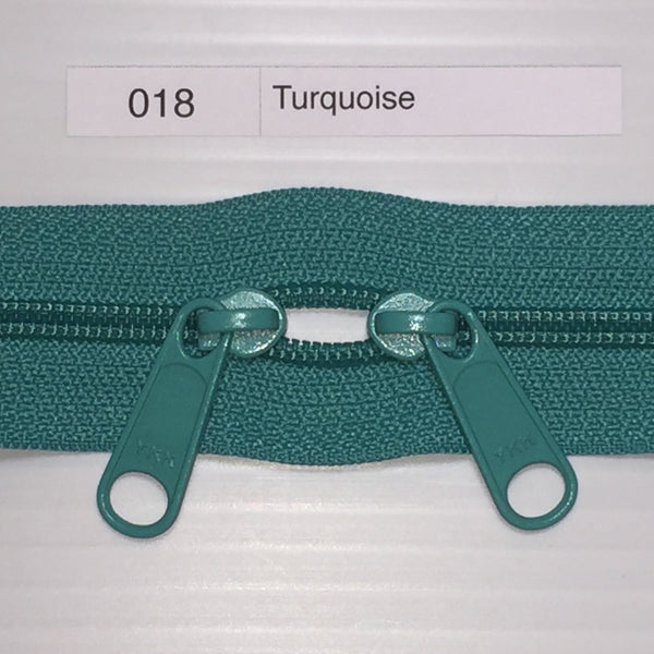 YKK zip #4.5 double handbag pull 40in 018 Turquoise IN STOCK