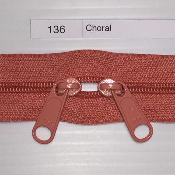 YKK zip #4.5 double handbag pull 40in 0136 Coral IN STOCK