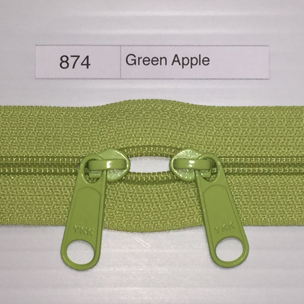 YKK zip #4.5 double handbag pull 40in 874 Green Apple IN STOCK