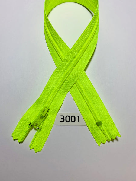YKK zip #3 RegPull 22in 3001 Fluorescent Yellow IN STOCK