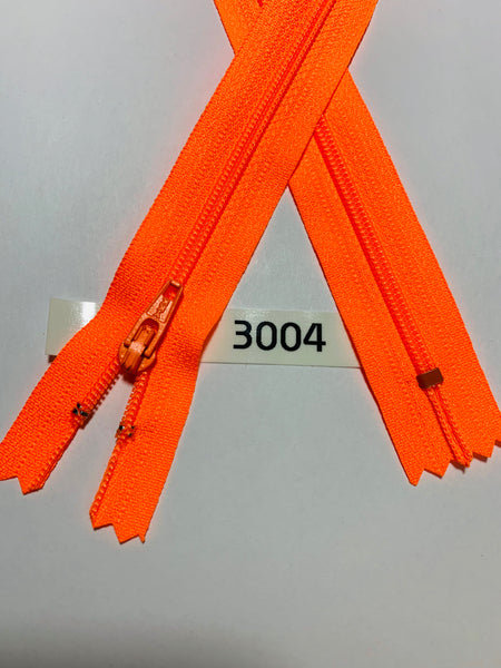 YKK zip #3 RegPull 22in 3004 Fluorescent Orange IN STOCK