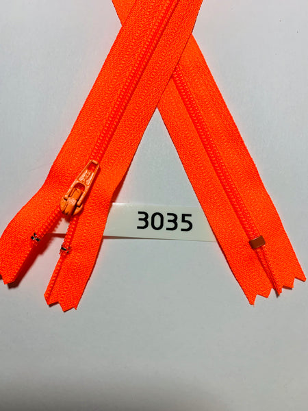 YKK zip #3 RegPull 22in 3035 Bright Orange IN STOCK