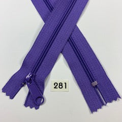 YKK zip #4.5 handbag pull 60inch  0281 GRAPE PURPLE IN STOCK