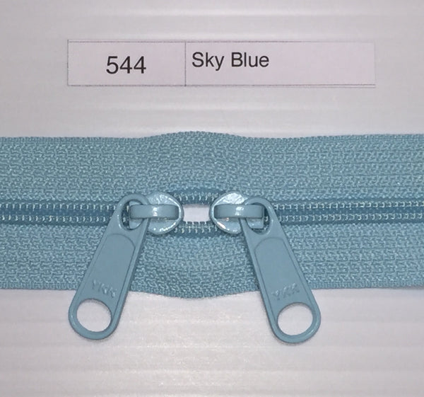YKK zip #4.5 double handbag pull 40in 0544 Sky Blue IN STOCK