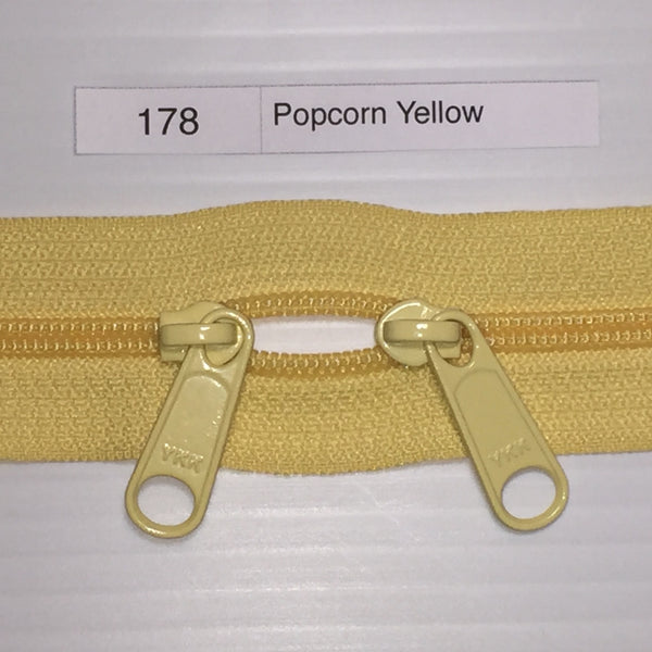 YKK zip #4.5 double handbag pull 40in 178 Popcorn Yellow IN STOCK