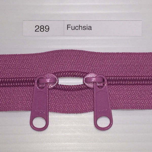 YKK zip #4.5 double handbag pull 40in 0289 Fuchsia IN STOCK