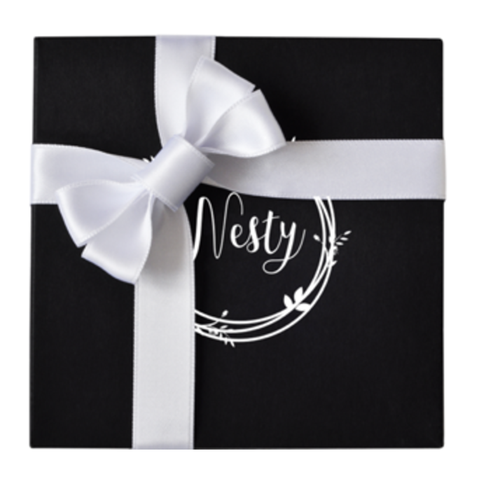 Add Wrapping - Tell us whether you want black OR white ribbon in the notes before checkout. - Nesty
