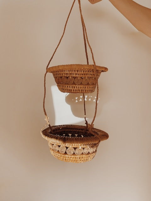 Tiered Wicker Hanging Baskets