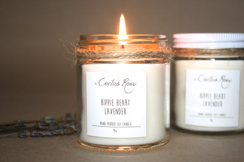 Hippie Heart Lavender Candle