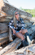 Classic Valley Proud Women's Flannel Shirt - White & Black