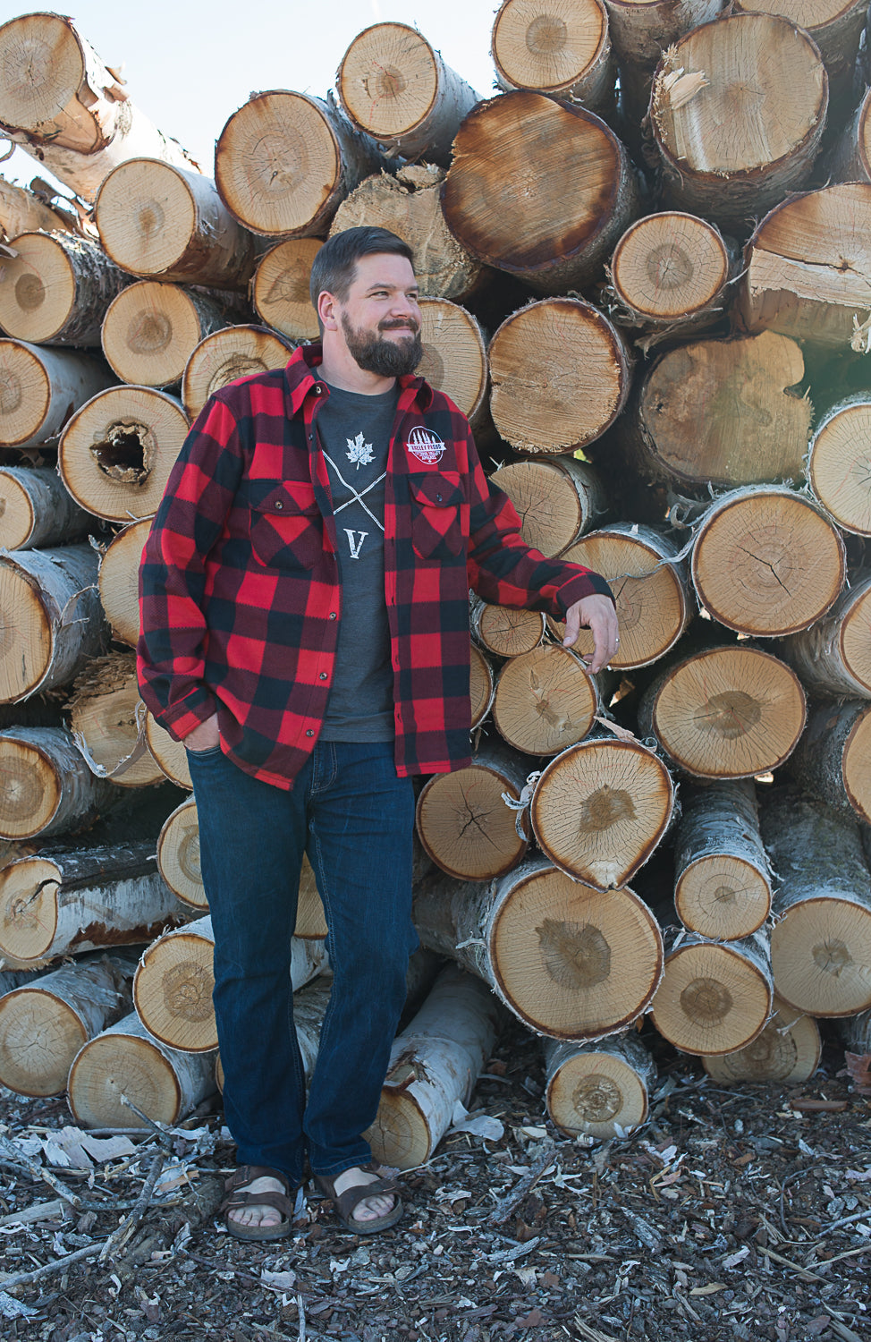 Valley Proud Men's Flannel Shirt - Black & Red