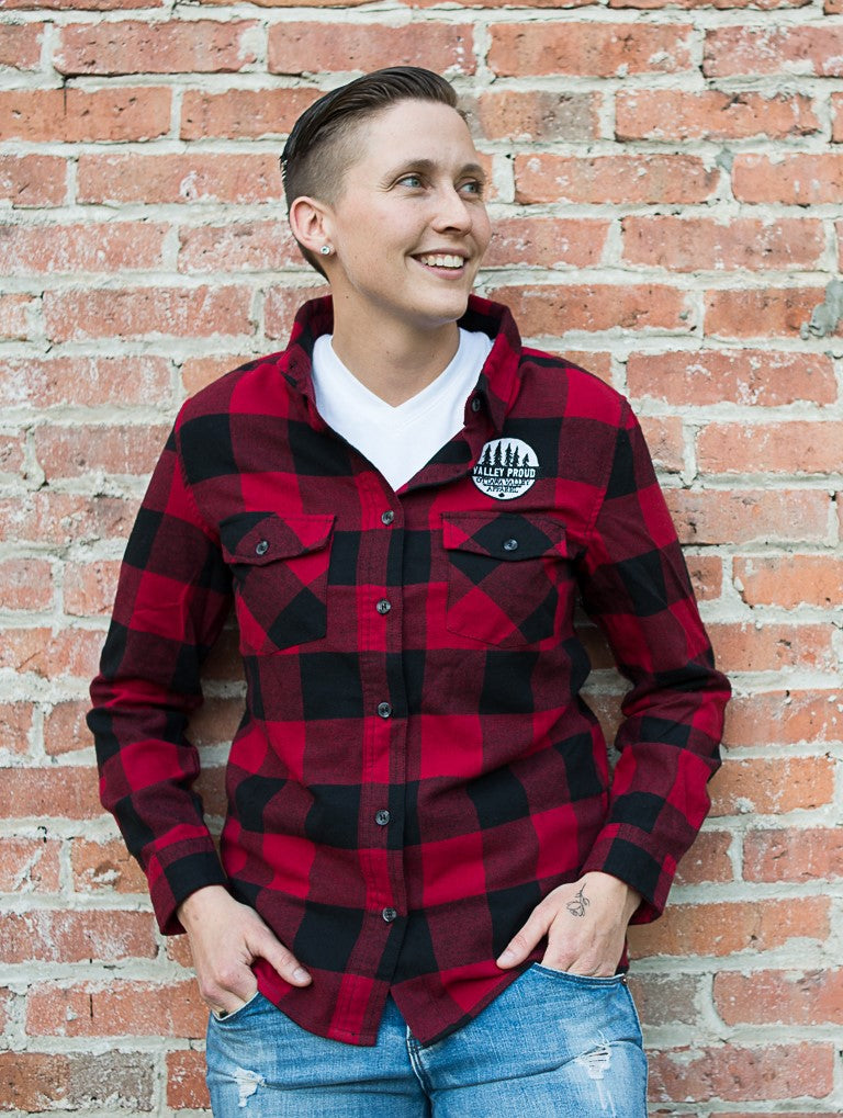 Classic Valley Proud Women's Flannel Shirt - Black & Red