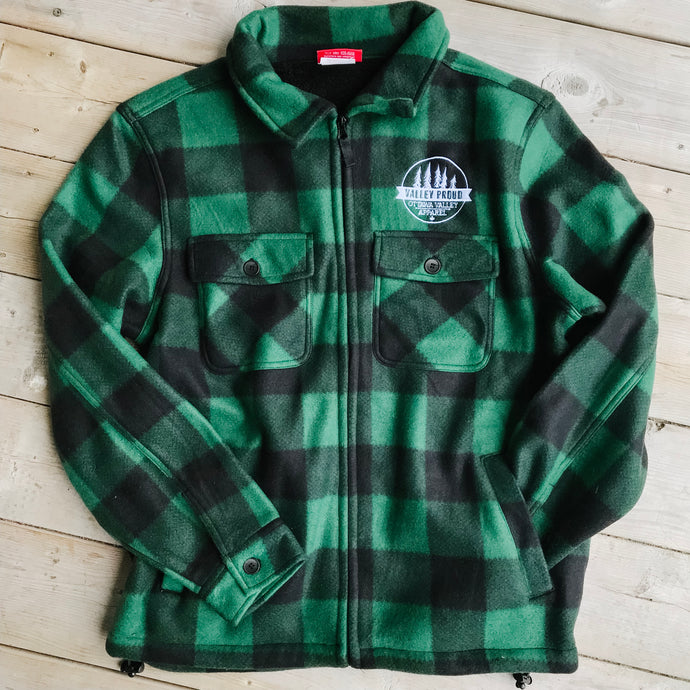 Sherpa Lined Lumberjacket - Forest Green & Black