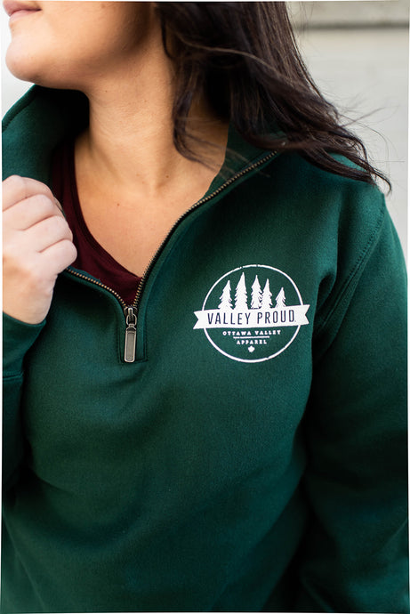 Valley Proud 1/4 Zip - Forest Green & White