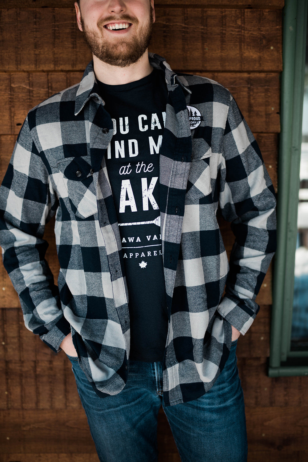 Valley Proud Men's Flannel Shirt - Navy & Grey