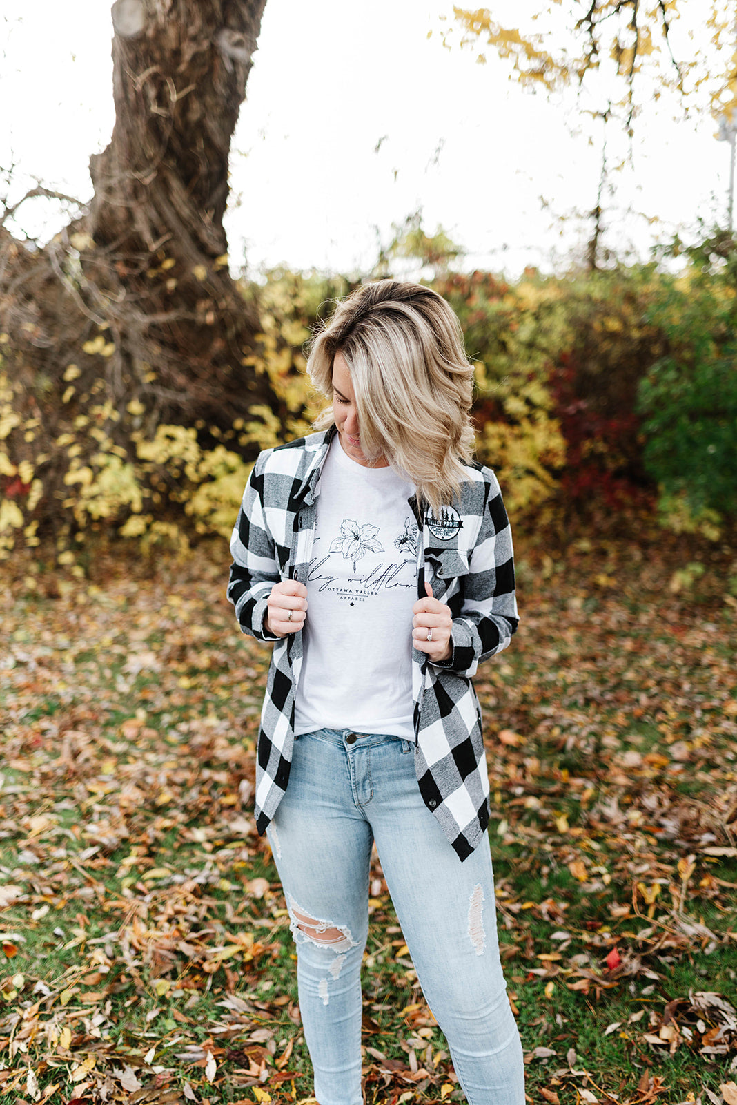 Valley Proud Women's Flannel Shirt - White & Black